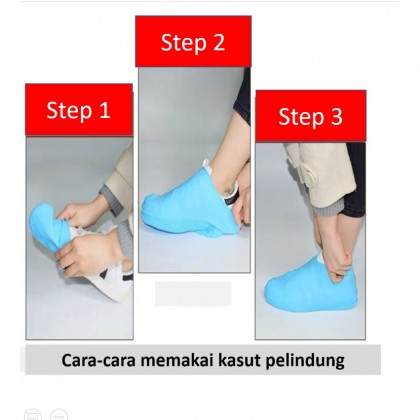 Unisex Waterproof Silicone Shoes Cover / Kasut Pelindung Dari Basah