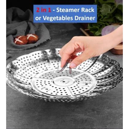 Stainless Steel Steamer Rack / Vegetable Drainer - Foldable Steamer Steam Rack/Drainer